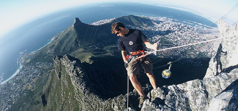 Justin Lawson Climb ZA abseiling on Table Mountain